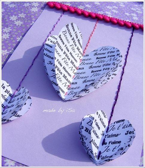 carte f te des m res avec coeurs en volume porteurs de mots doux 3d heart card matky. Black Bedroom Furniture Sets. Home Design Ideas