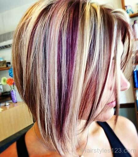 Choppy Bob With Blonde And Pink Highlights Short Hair Color Hair Styles Hair Color Purple