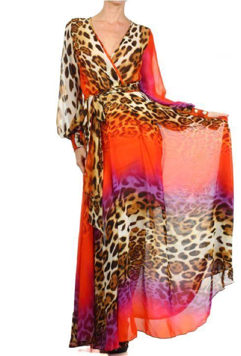 b44a68cc968 ORANGE Leopard FULL SWEEP Chiffon MAXI DRESS Gown SHEER Long Skirt Cruise  Party  tamarstreasuresgeneric  Maxi  Cocktail