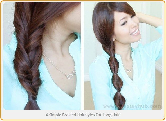 4 Simple Braided Hairstyles For Long Hair Braided Hairstyles Longhair Hair Styles Braided Hairstyles Medium Hair Styles