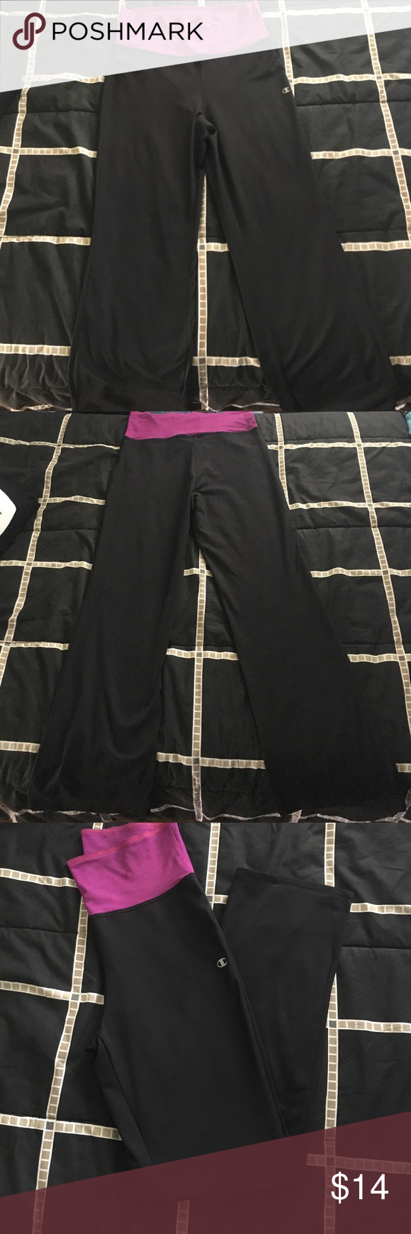 Champion Elite Semi Fit Pants with smoothtec Champion Elite Semi Fit Pants with smoothtec. Never worn although small stain on waist. Super comfort waist. Size large but short length of 37 1/2 inches from black to black. Champion Pants Leggings