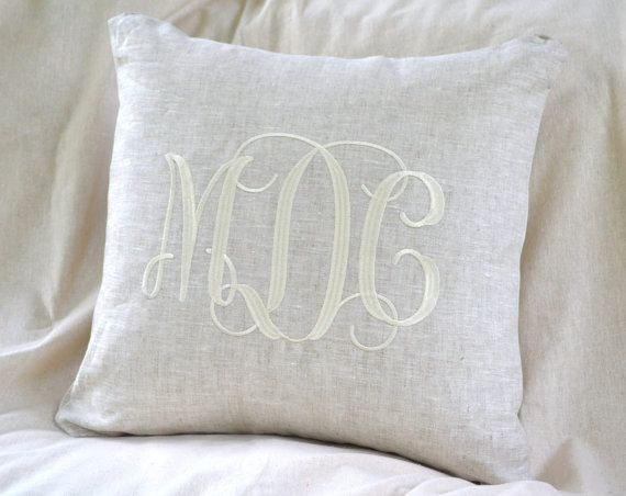 100% natural linen pillows make a statement when embroidered with your name or monogram. Pillows measure 20 x 20 and have an envelope style opening