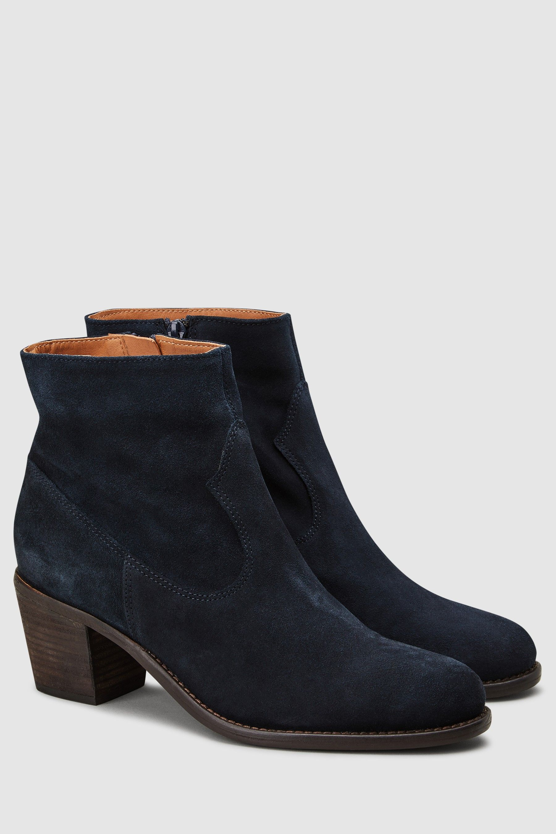 Navy Suede Western Ankle Boots - Blue