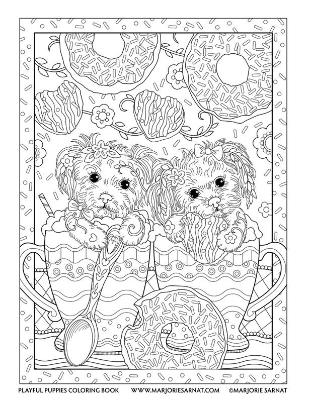 Coffee Pups Playful Puppies Coloring Book By Marjorie
