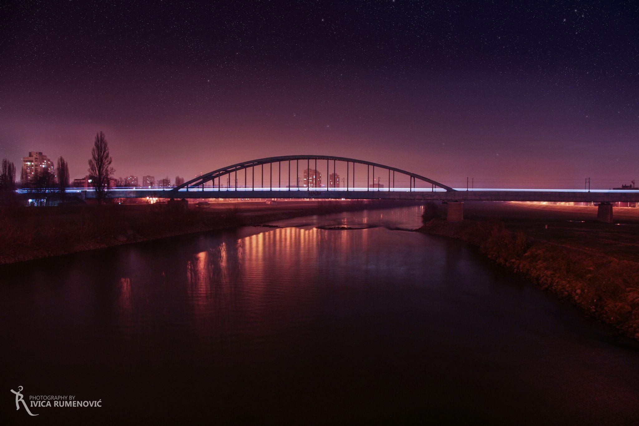 """Train bridge in city of Zagreb - """"Hendrix"""" bridge in capital city of Croatia Zagreb"""