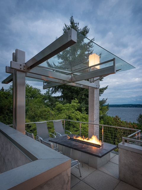 4 Chair Patio Set: Modern Deck With Trellis, Threshold Camden 4-Piece Sling
