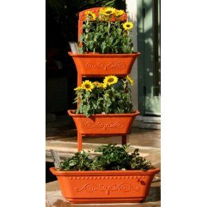 Vegetable Planter | Flower Planter | Outdoor Planters   Self Watering Red  Planter Box By Monkey
