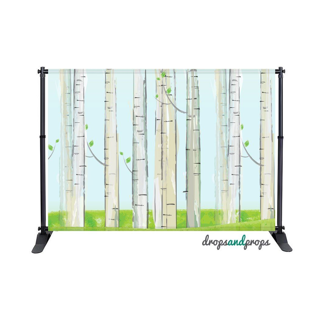 Watercolor Birch Trees Photography Backdrop Backdrop Background