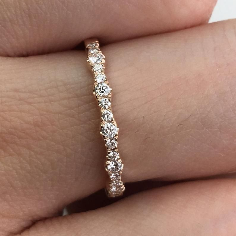 Diamant Ehering in 14K Rotgold   Etsy