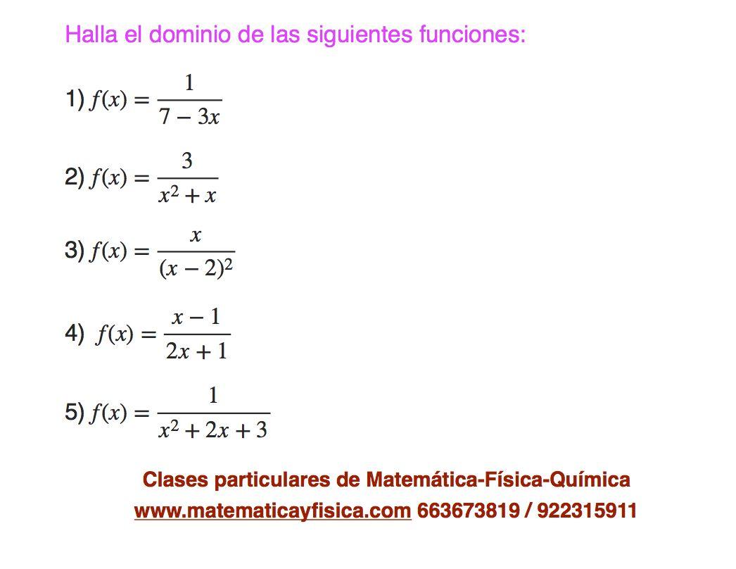 Ejercicio De Dominio De Funciones Ejercicios Matematicas Química