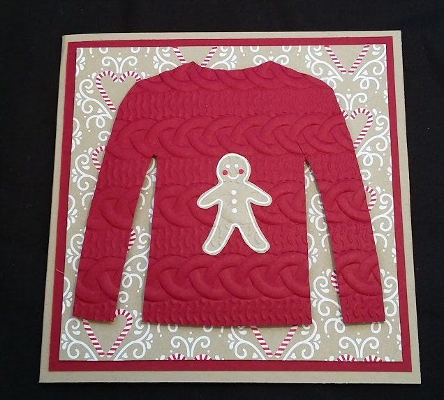 Christmas Jumper, Ugly Jumper, Stampin' Up! Cable Knit Dynamic embossing folder, Candy Cane Lane DSP, Crumb Cake.  Created by Pauline Barnfather, I Create Craft.