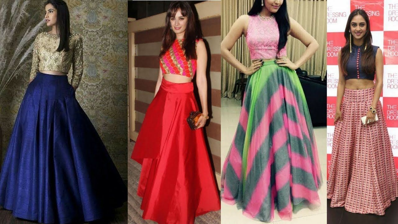 a4d728738 latest long skirt with crop top designs | Sangeet & Mehendi outfit ideas
