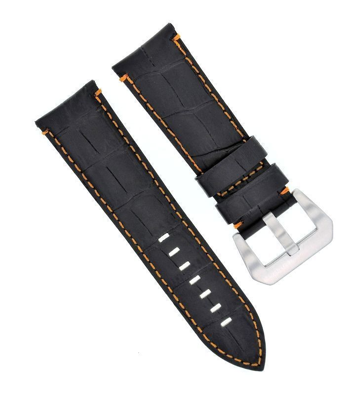 22Mm Genuine Leather Watch Band Strap For Breitling Navitimer, Black Orange St#9