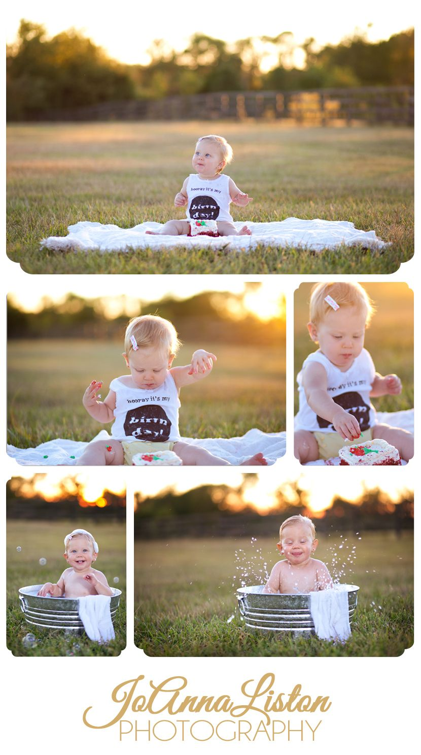 One Year Old Photo Session Outdoor Cake Smash Outdoor Baby