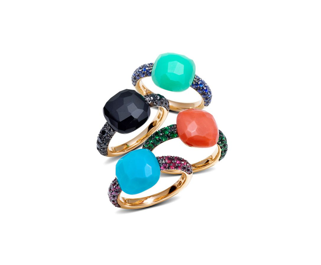 c1c0578ab3e24 Pomellato Capri rings in rose gold with turquoise and rubies