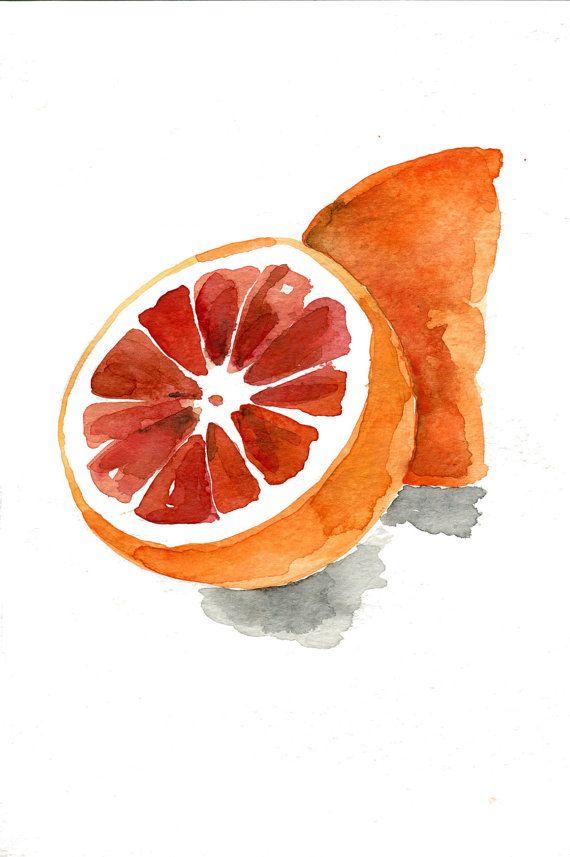 Blood orange 2 art print, orange watercolor print, orange ...