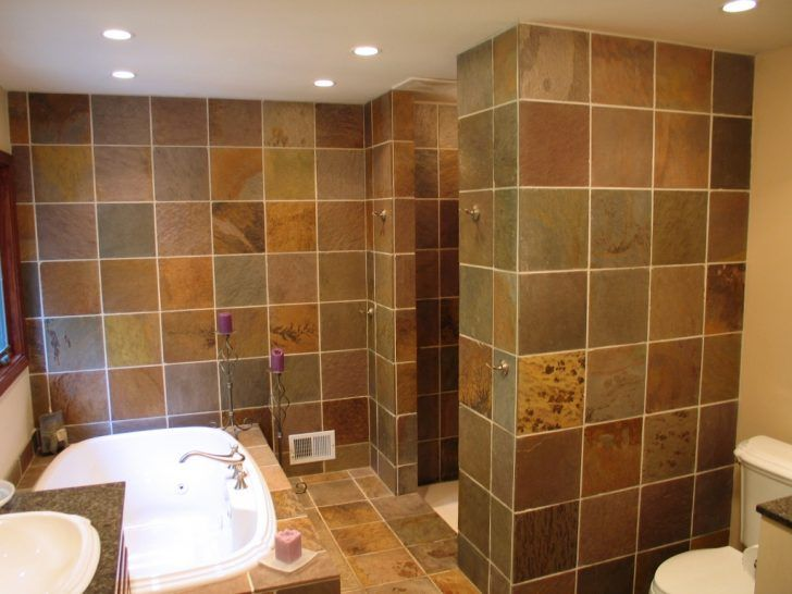 BathroomWalk-In Shower Ideas And Designs Marvelous Slate Tiles For