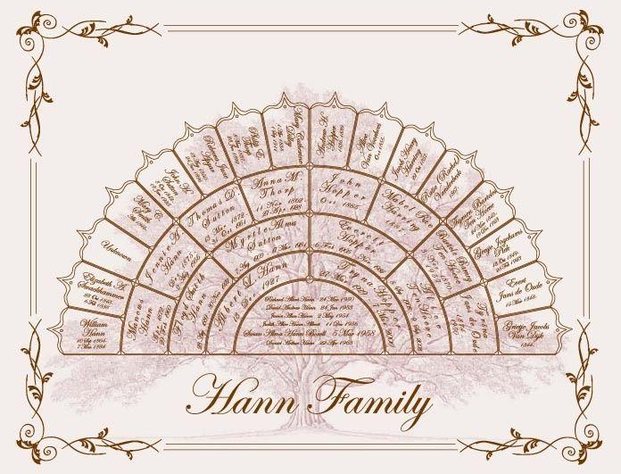 five generation family tree template family tree 5 generation personalized custom half wheel family