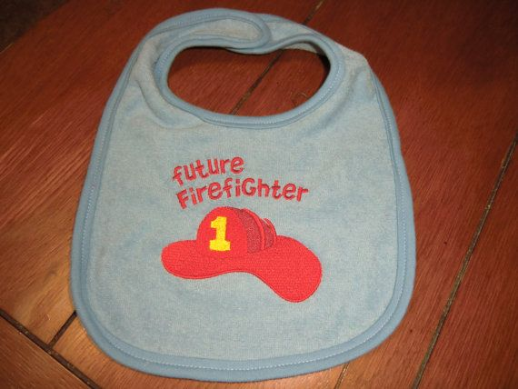 Embroidered Baby Bib  Future Firefighter Boy by teri3422 on Etsy, $5.00