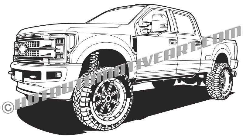 2017 Ford F250 lifted 4x4 truck vector clip art Classic