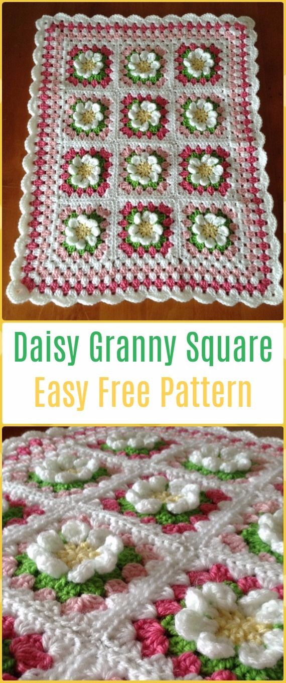 Easy Crochet Daisy Granny Square Blanket - Crochet Daisy Flower ...