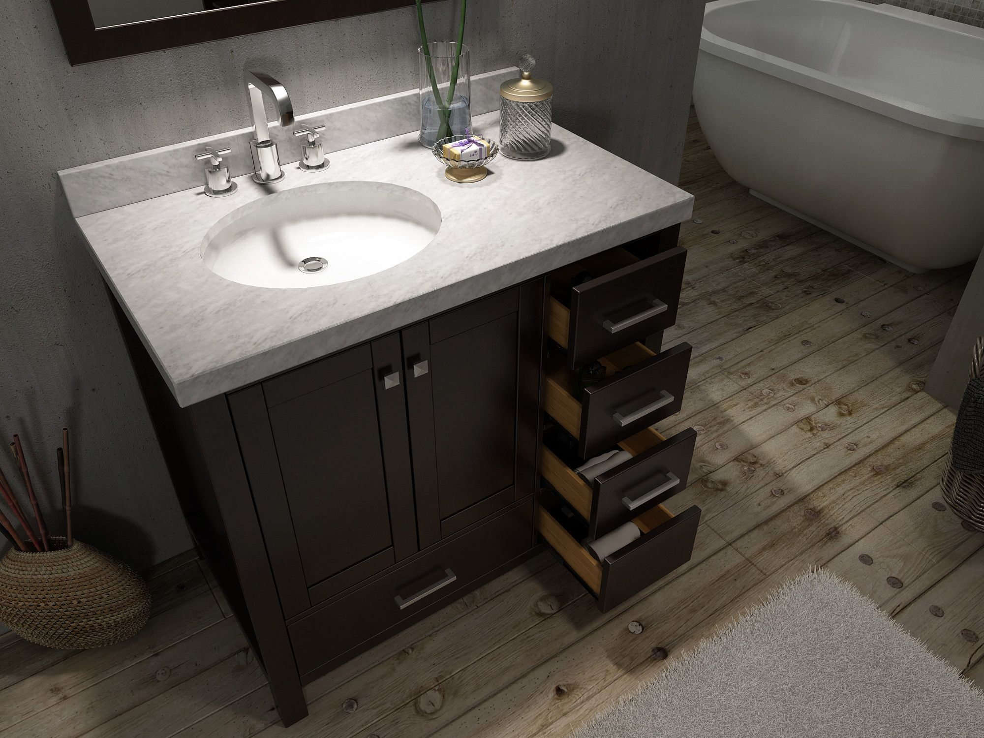Exceptional 42 Bathroom Vanity Canada With Top With Offset Sink