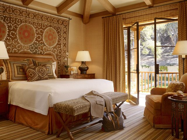 beautiful traditional bedroom ideas. love the suzani behind bed and mix of fabrics on pillows bench enchanted oaks - traditional bedroom san francisco tucker \u0026 marks beautiful ideas e