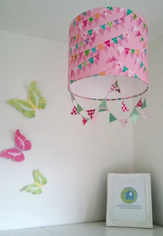 Pink lampshade pink bunting nursery decor girl pink ceiling pink bunting lamp shade pink nursery decor baby by mobilampshades mozeypictures Choice Image