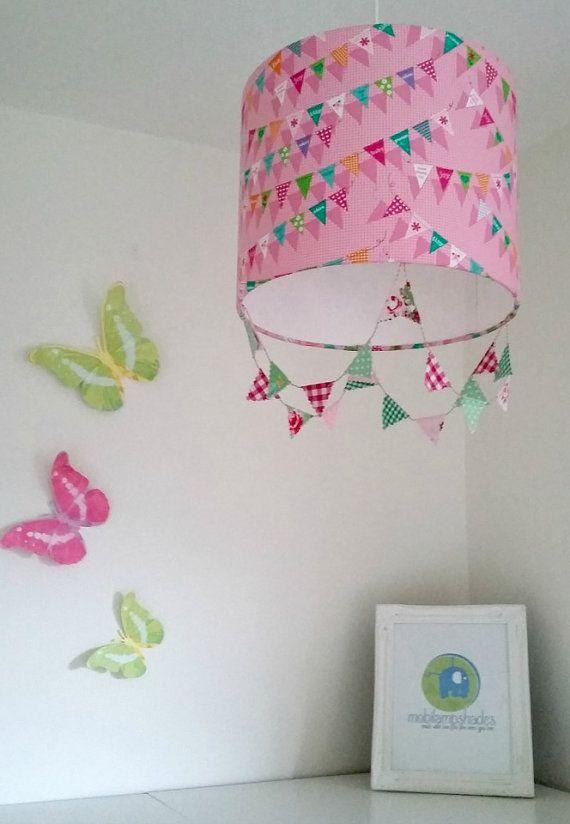 Pink Lampshade, Pink Bunting, Nursery Decor Girl, Pink Ceiling Lamp Shade, Girl  Bedroom Decorations, Nursery Light Shade, Baby Girl Nursery