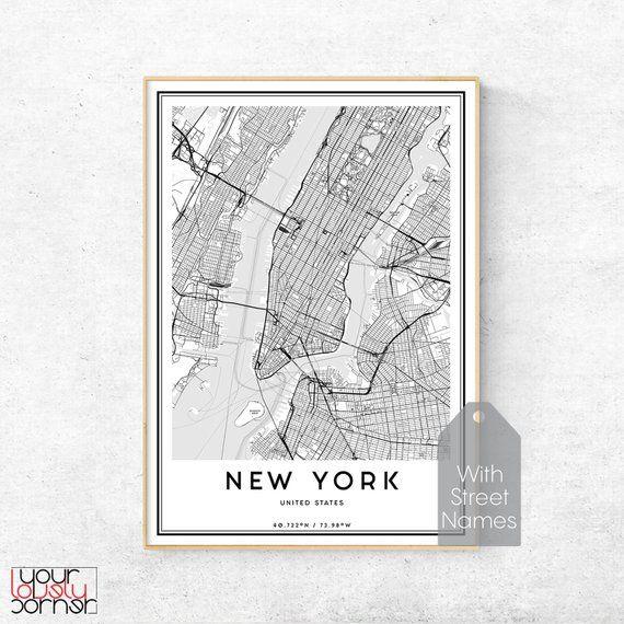 New York Map Print Manhattan Map Wall Art New York Street Map New