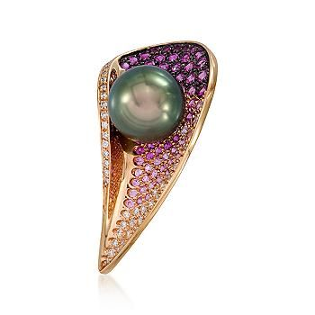 Schoefel Black South Sea Pearl w/ Pink Sapphires and Diamonds
