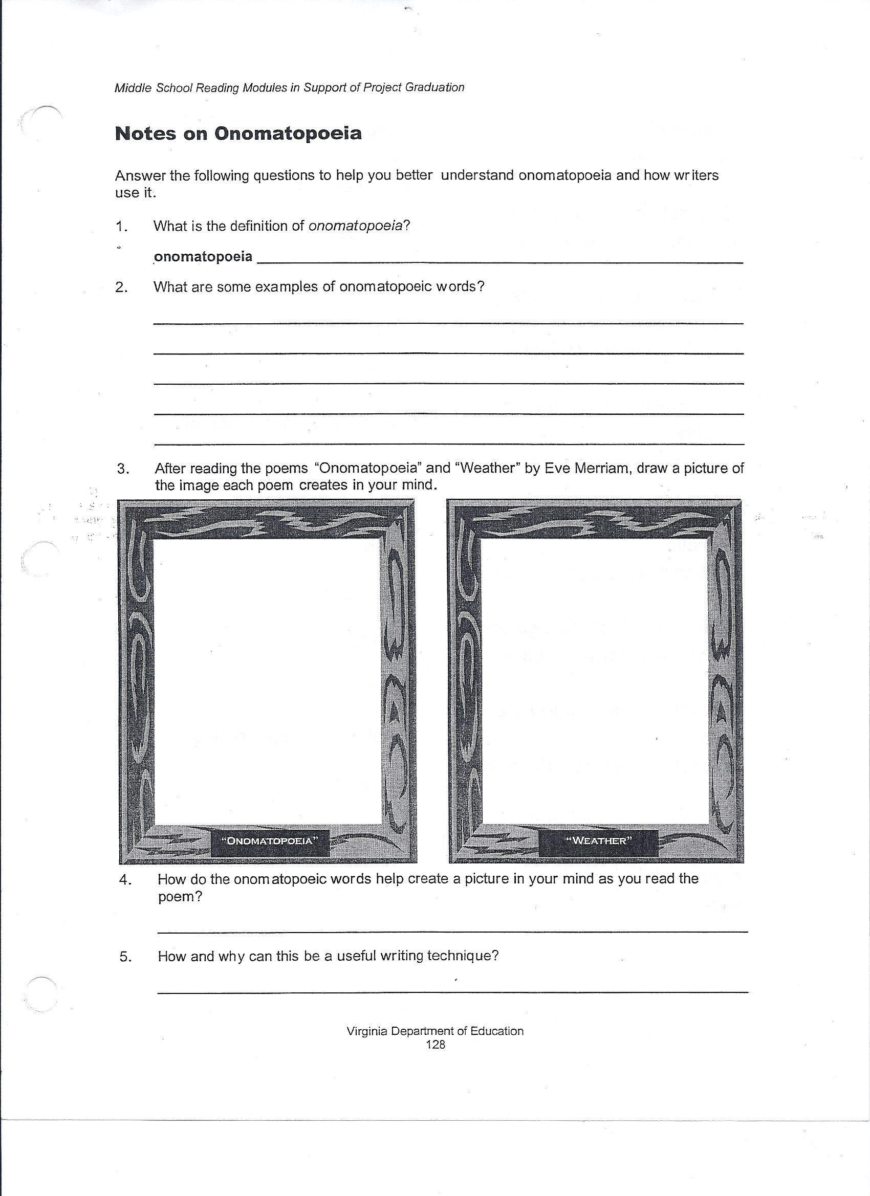 6th Grade Poetry Worksheet Elements Art Worksheets Art Worksheets Middle School Art Worksheets Language Arts Worksheets