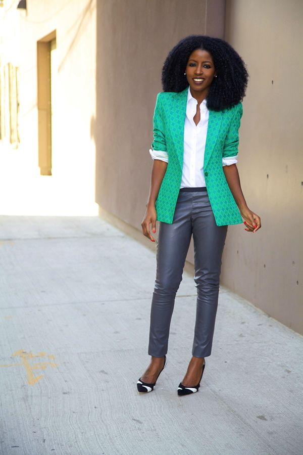 Style Pantry   Textured Blazer + Button-Up Shirt + Leather Skinnies