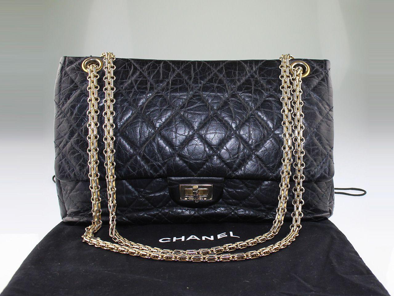 6d3a2e6ec8 Sac à main Chanel 2.55 fermoir mademoiselle en cuir matelassé noir style  vintage en occasion. Prix d'occasion : 3199 € / Excellent état