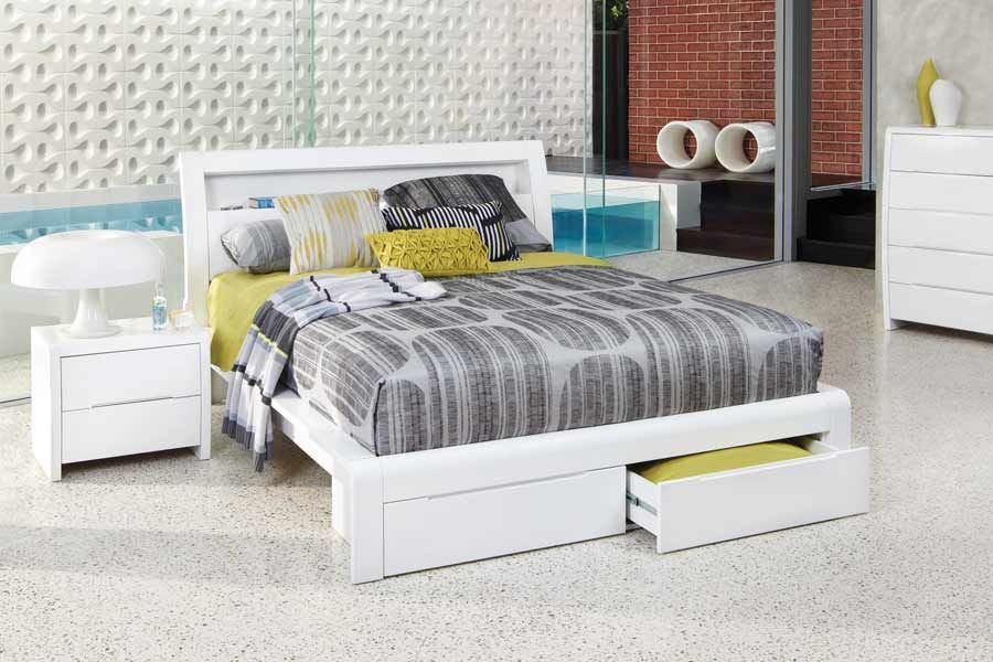 Benton White Double High Gloss Bed White Queen Bed Frame White