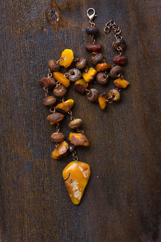 Natural Amber Pendant Choker for Men, Autumn Gift for Him, Fall ...