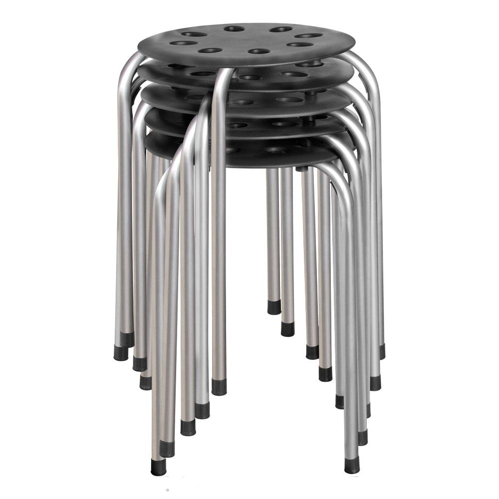 Norwood Commercial Furniture Plastic Stack Stool Black