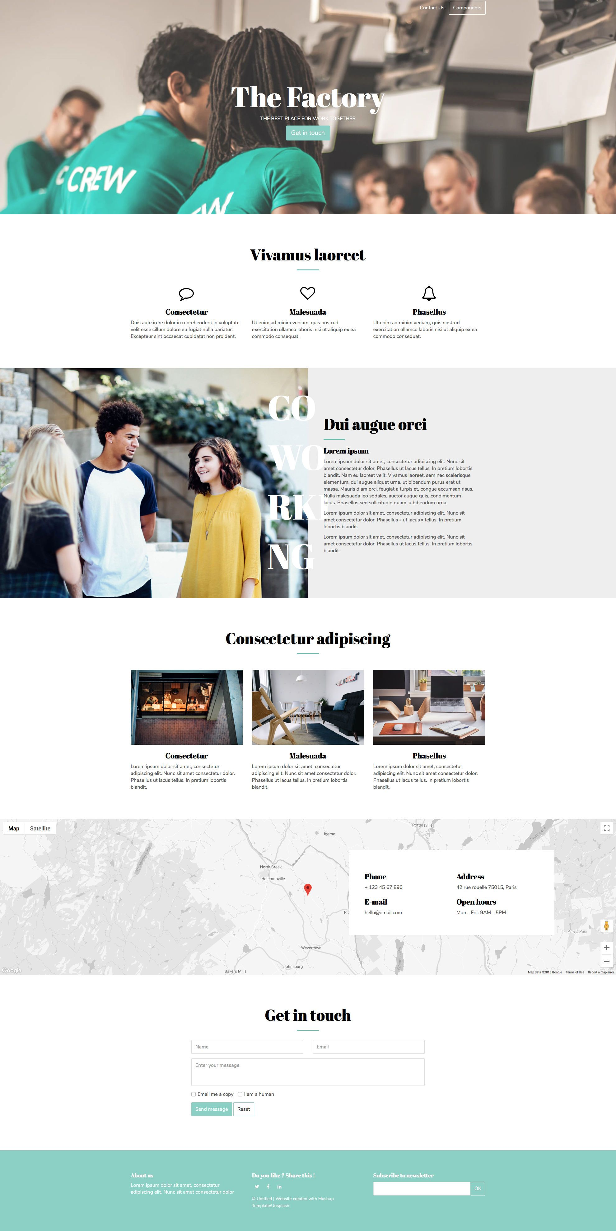 The Factory Free responsive HTML5 Bootstrap Landing page