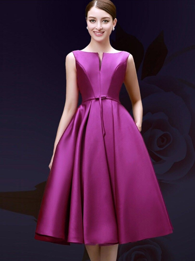 Purple,Plunge Neck,Bowknot Waist,Lacing Back,Midi Prom Dress ...