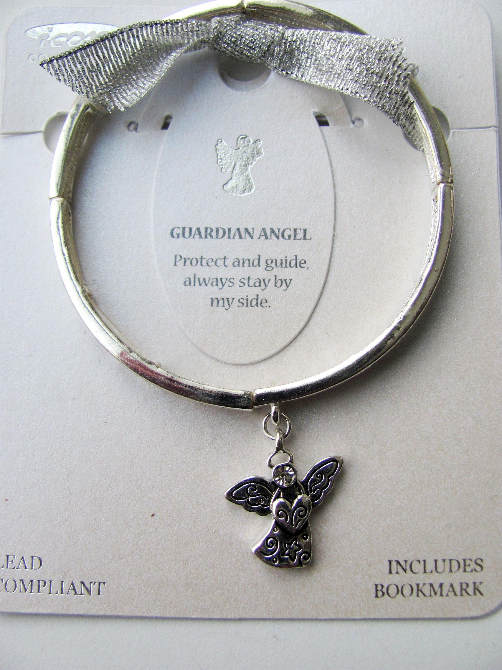 Guardian Angel Charm Inspirational Message Bracelet Silver