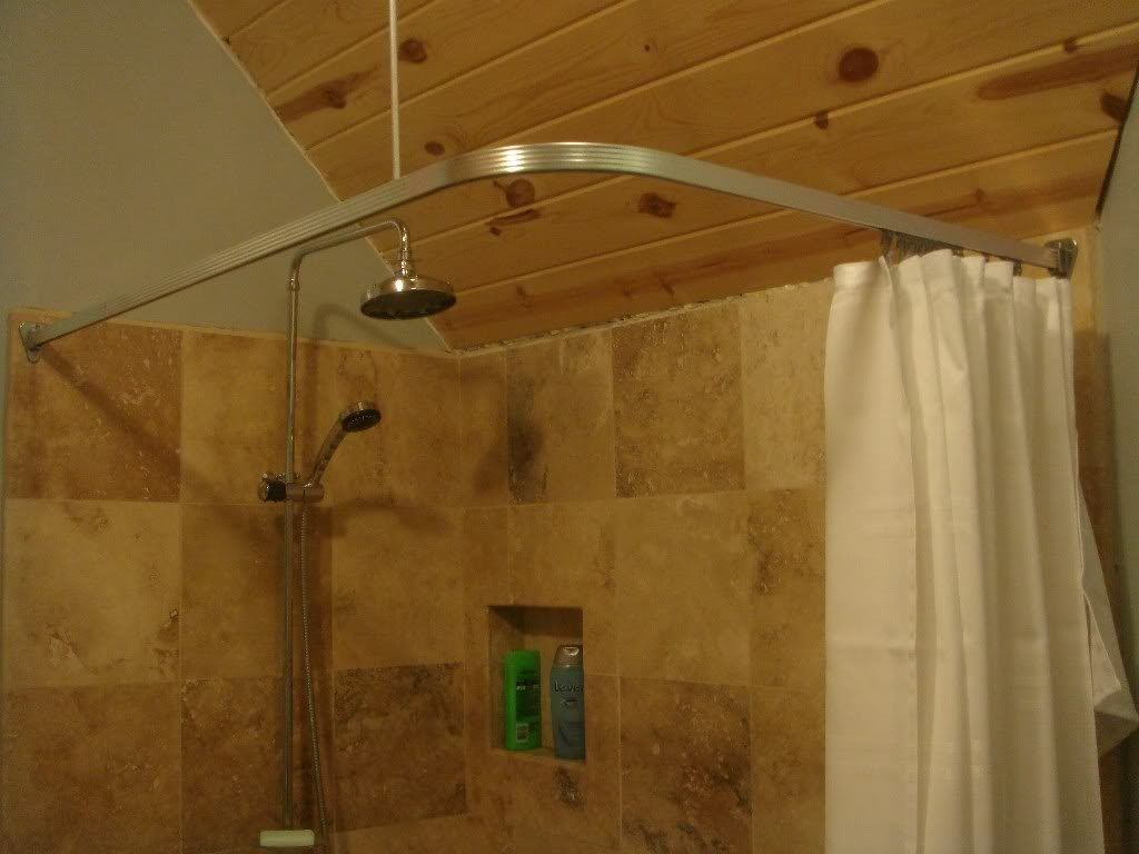 Chrome L Bath Shower Curtain Rail Track Ceiling Support | Shower .