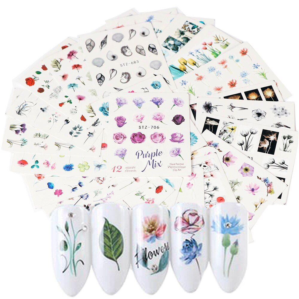 #24pcs #cute #flamingo #colorful #flowers #leaves #nail #sticker #water #transfer #stickers #manicure #art #watermark #tips #random #styles #tools
