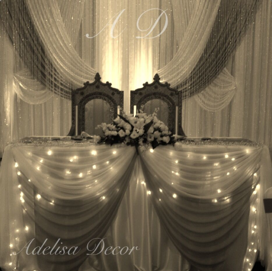 Elegant Wedding Backdrops: Elegant Wedding Drape Backdrop & Lighting #Weddings