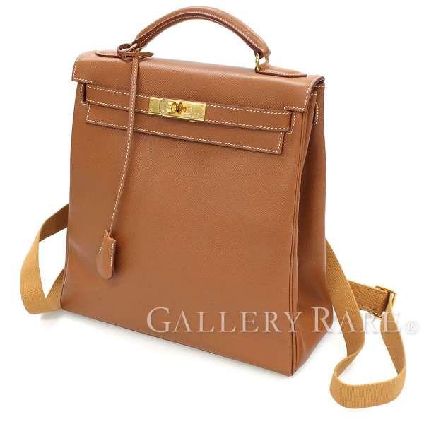 buy popular f039b 46a52 エルメス リュック ケリーアドGM ゴールド×ゴールド金具 ...
