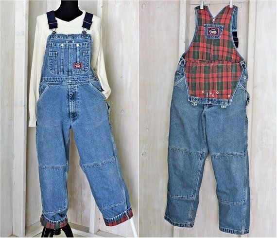 vintage 80s overalls size s flannel lined denim bib on walls workwear insulated coveralls id=21609