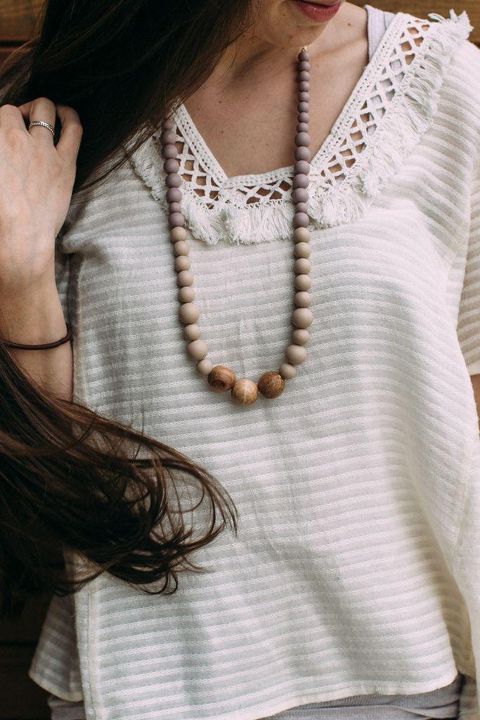 Gwendolyn Silicone + Wood Necklace – Mama Gems
