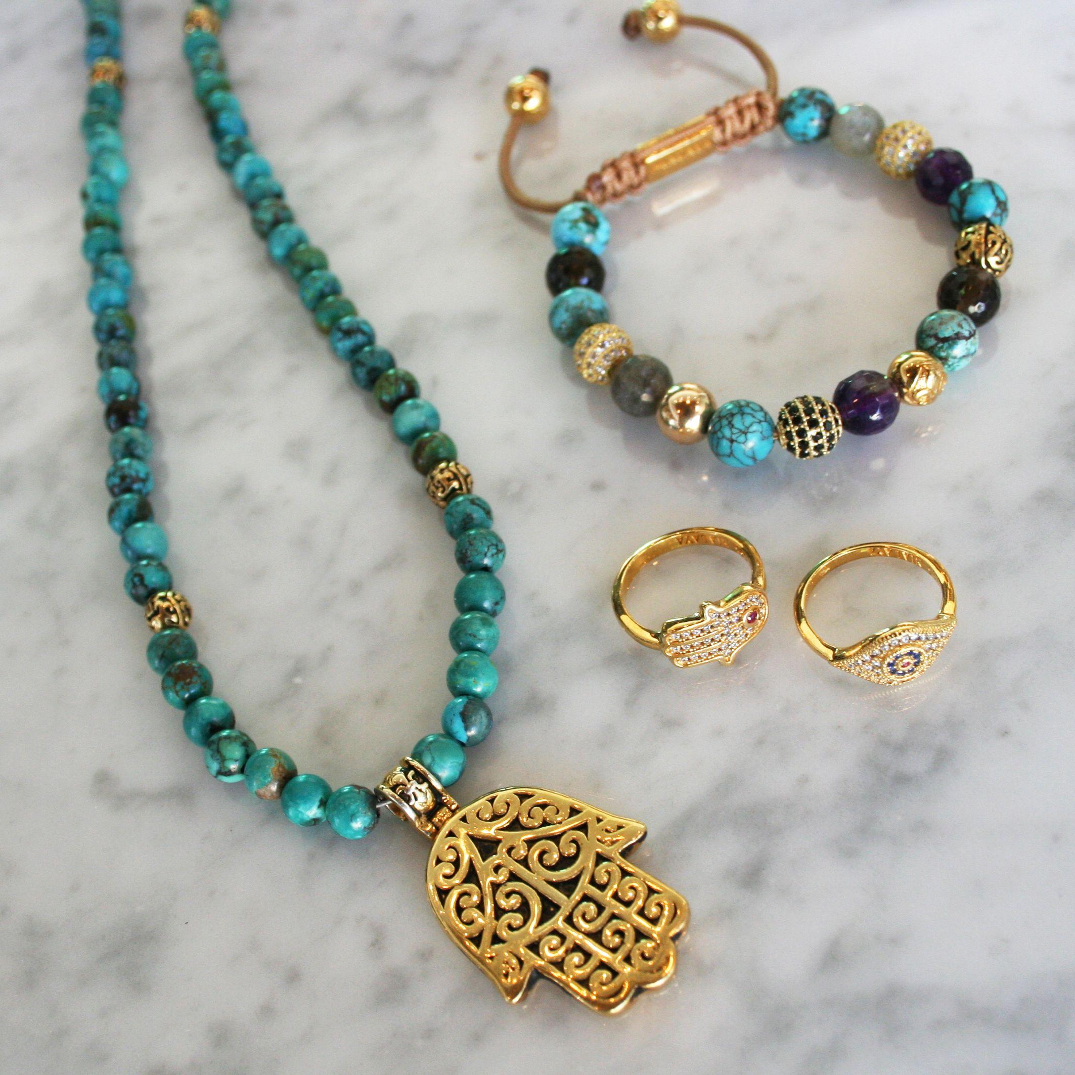 Our spiritual hamsa jewelry. Bautiful combination of turqouise and gold. #nialaya #jewelry