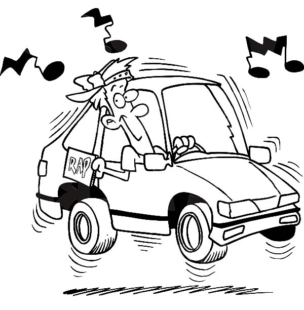 Boy Blaring Rap Music While Driving His Car Coloring Pages Best Place To Color Cars Coloring Pages Coloring Pages Rap Music