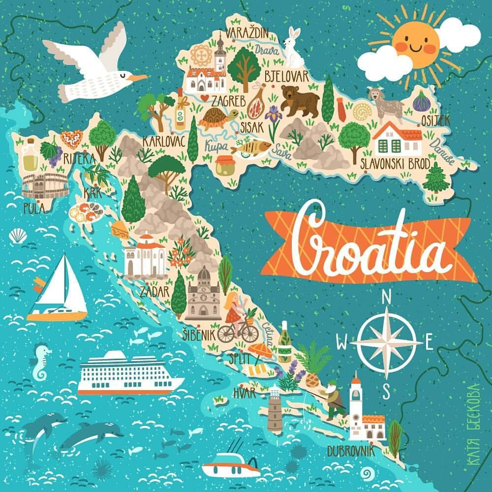 Croatia Map | Wall gallery in 2019 | Croatia travel, Croatia map ...