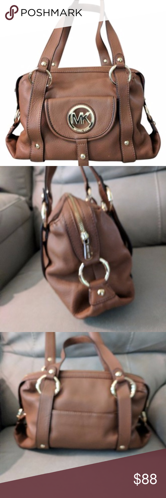 Michael Kors Fulton Pebbled Leather Satchel  Bag This is a great, brown pebbled leather satchel/hobo bag (I believe it's a Fulton Satchel in Luggage Brown). It can comfortably be worn on the shoulder. It's roomy without being too large. Great every day bag. The leather is in great condition with very little wear. The hardware is in good condition, though the rectangular piece at the bottom of the front flat has some wear and scratches, as pictured. However, this piece tends to sit underneath…